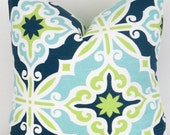 Blue & Green Pillow Cover -ANY SIZE- Navy Blue, Lime Green, Aqua, White, Beach Decor, Sofa Pillow, Harford Canal Premier Prints, FREESHIP