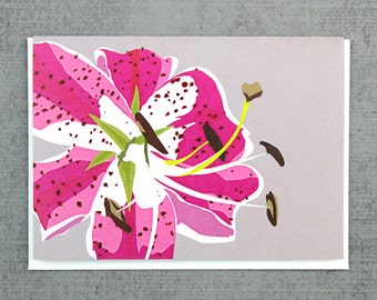 Pink Lily flower note card stationery