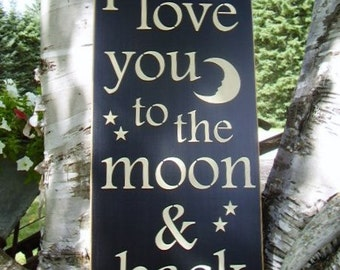 Wood Sign, I Love You To The Moon & Back, Subway ,Word Art, Handmade