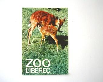SUMMER SALE 30% OFF!!  Original Zoo vintage Advertising Poster - 1976 - deer design- Liberec