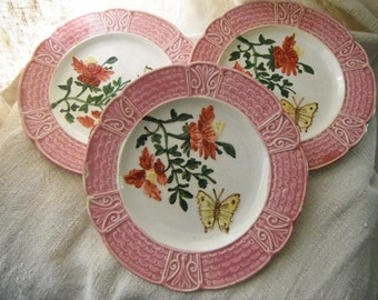 French Vintage, French Antique, Barbotine,  Majolica,  Plates, Butterflies,  Art Nouveau, Antique Plates, Old China, Floral China, Papillion