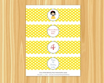 Snow White Water Bottle Labels | Snow White Party | Snow White Birthday | Princess Party | Princess Birthday Party