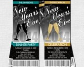 NEW YEAR'S EVE Party Ticket Invitations - (print your own) Personalized Printable - Champagne Glass Design