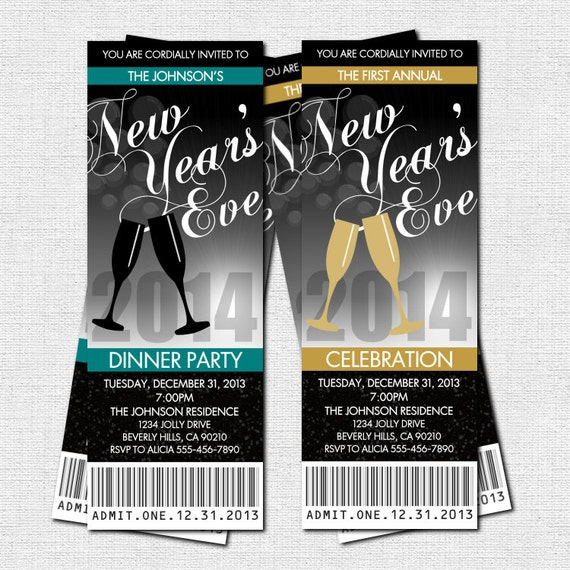 New Year'S Eve Party Ticket Invitations Print Your Own
