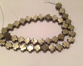 10x10mm cross pyrite bead, 35 beads,