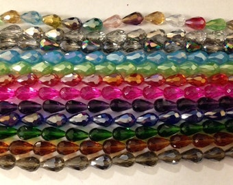 Teardrop crystal beads,glass, 36 cut faceted, 10x15mm, 17beads