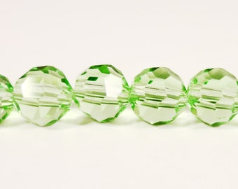 Green Crystal Beads 6mm Faceted Round Peridot Green Chinese Crystal Beads for Jewelry Making on a 7 1/4 Inch Strand with 33 Beads