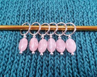 Natural Rose Quartz Stitch Markers set of 6