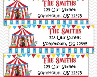 Circus Carnival  - Personalized Address labels, Stickers