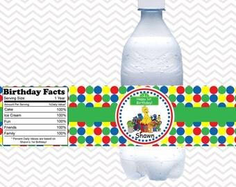 Sesame Street Gang  - Personalized water bottle labels - Set of 5  Waterproof labels