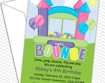 Bounce House Pastel Print Invitations PRINTABLE - Birthday Party - Baby Shower