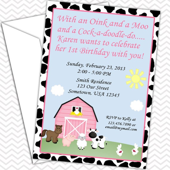 Barn Yard Farm Animals Pink Cow Print Invitations PRINTABLE - Birthday Party - Baby Shower