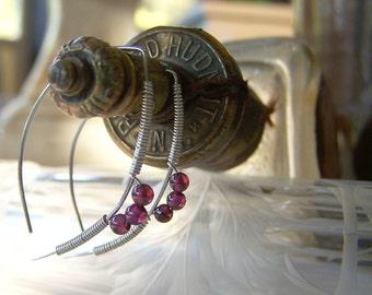 Garnet Sterling Silver Wire Wrapped Earrings Boho Minimalist Elvin Ear Wires by ShesSoWitte