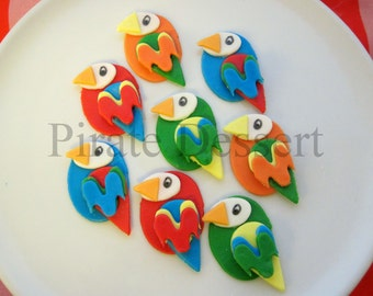 Birds of a feather Edible cupcake toppers. Tropical party set - PARROT CUPCAKES - Luau - Pirate cupcake -  (Assorted Colors) (6 pieces)