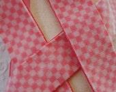 "1y Vintage Swiss 1 1/2"" Pink Gingham Check Rayon Velvet Millinery Ribbon Trim Doll Hat Belting Victorian Dress Sash Cloche Flapper Work"