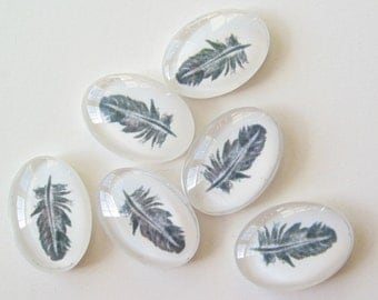 12 bird feather glass dome cabochon cabs 18 x 13