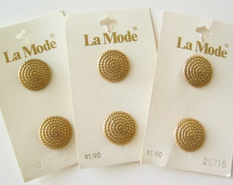 Vintage La Mode rope design buttons made in Italy 6 buttons