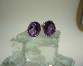 Oval Amethyst Earrings in Sterling Silver   #870
