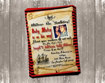 Vintage Pirate Baby Shower Invitation (red and black) DIGITAL FILE