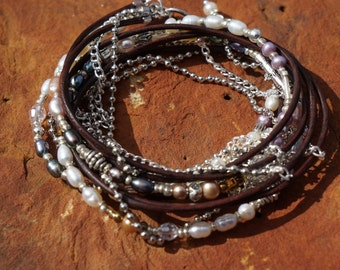 Boho ~ Endless Leather Wrap Bracelet ~ Silver & Pearls, Bohemian Western