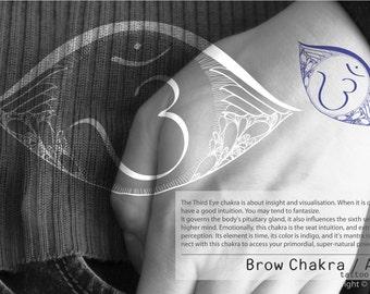 Hand Draw Brow Chakra / Ajna Symbol Mandala Tattoo Sticker