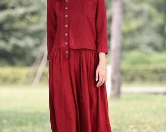 Red linen dress maxi dress long dress - C265