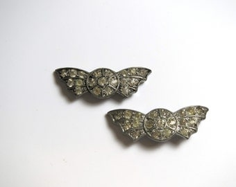 Two Vintage Rhinestone Dress Clips - Shoe Clips - Accessory # 2366