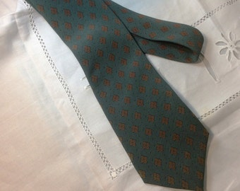 Vintage Emanuel Ungaro Paris Silk Tie, Designer Necktie, Made in France, Soft Teal Green and Tan