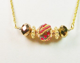 Red and Gold Beaded Necklace, Chain and Bead Necklace, Crystal Necklace