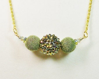Green and Gold Glitter Necklace, Beaded Chain Necklace, Green and Gold Chain Necklace