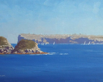 From Manly to South Head  - Original Australian Landscape Oil Painting of Sydney Harbour.