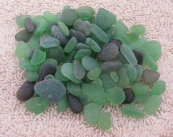 100 smal emerald green kelly green and dark green genuine sea glass  beach glass