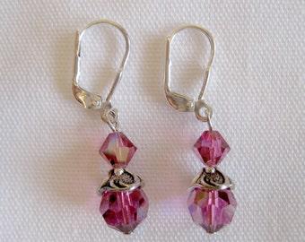 Purple Bead Drop Earrings -Silver Lever Back Beaded Earrings -Iridescent Purple Beaded Pierced Dangle Earrings -Beaded Drop Pierced Earrings
