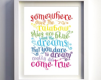 Somewhere Over The Rainbow Song Print Bright Nursery Decor Kids Room Wall Art Boys Girl Nursery Prints Modern Christmas gift for kids