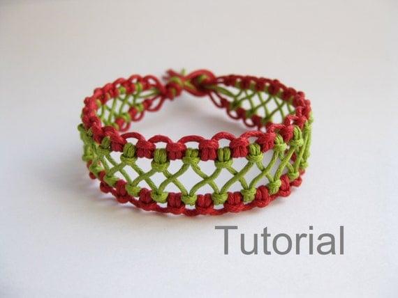 Rojo macrame pulsera patrón instrucciones pdf tutorial Cómo encaje verde makrane micro nudos paso a paso