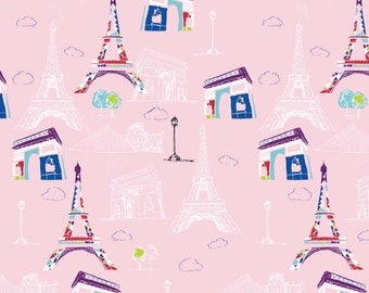 Riley a Blake Pepe in Paris by The RBD Designers & Amy Adams Paris Main in Pink by the Yard