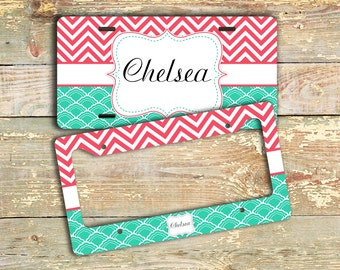 Bff gifts, Personalized license plate or frame monogram, Turquoise blue coral chevron, Name chevron car tag bicycle plate bike plate (1070)