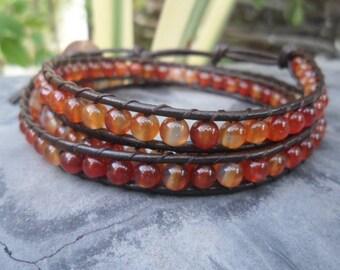 Carnelian  Leather Wrap Bracelet