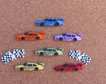 Race Car Push Pins or Magnets