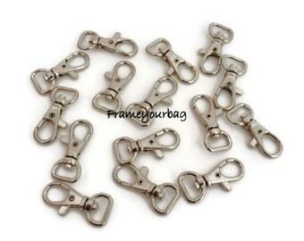 20 pcs 40x16mm (10 mm inner) alloy snap hook  Nickel - H02
