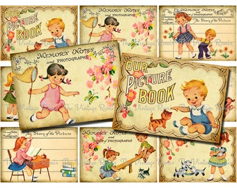 Printable Scrapbook Images, Retro Childhood Graphics, Digital Collage Sheets, Vintage Inspired Ephemera, ATC ACEO, Instant Download