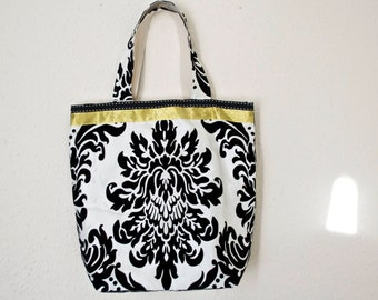 Shopper bag beach bag  in monochrome damask with gold ribbon detail