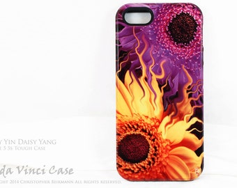 Premium Daisy iPhone 5s SE Case - Purple & Yellow Floral iPhone 5s Cover - Daisy Yin Daisy Yang -  Gebera Daisy iPhone 5 TOUGH Case