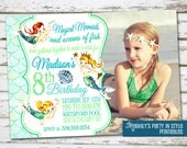 Mermaid Birthday Invitation with Photo, Mermaid Invitation, Mermaid invite, Mermaid Birthday