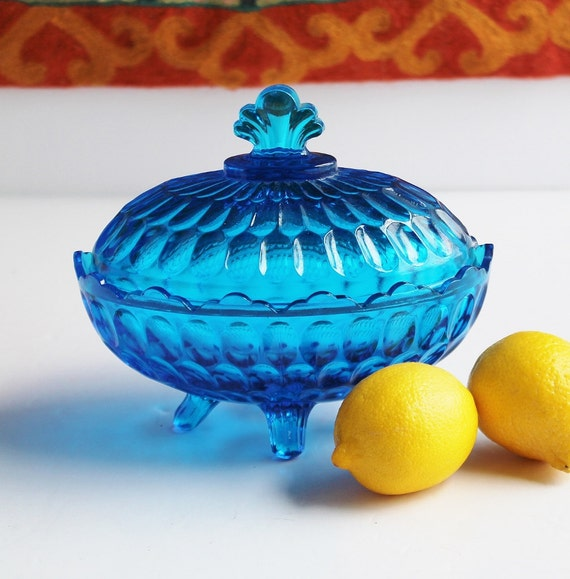 fenton colonial blue glass oval thumbprint candy dish with lid