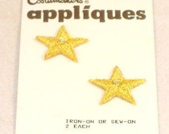 Vintage Embroidered Gold Star Applique, Set of 2 -  NIP - Destash