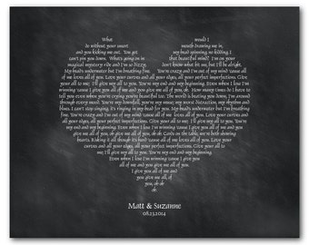 Any Song Lyrics Wall Art - Wedding Song, Vows Customizable Heart Typography Print - Valentines Gift -  Anniversary, Wedding Gift for couple