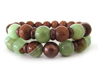 Women's Beaded Stretch Bracelets - Jade Bracelets - Women's Jewelry - Green Bracelets - Wooden Bracelets - WS1911