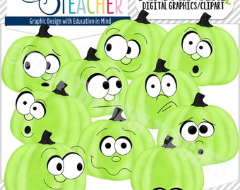 Pumpkin Headz Clipart Set: GREEN
