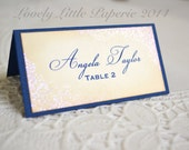 Wedding/Event Place Cards - Navy, ivory and iridescent sparkle